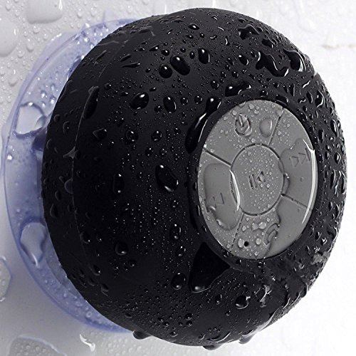niceEshop(TM) Mini Altavoz Bluetooth Inalámbrico Impermeable con Ventosa para Baño (Negro)