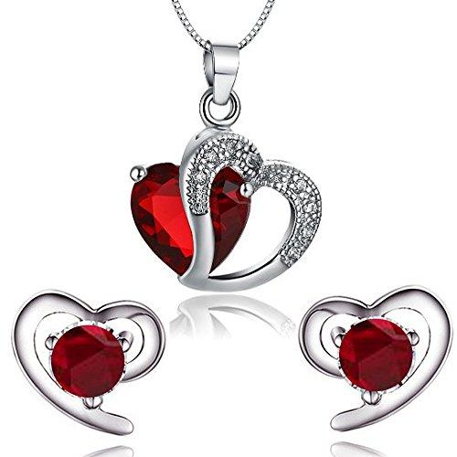 findout Damen Amethyst rot, rosa, blau weiß Kristall-Herz Silber Anhänger Halskette + Ohrring, für Frauen, Mädchen. (rote Kristall-Set) (Und Blau Halskette Rot)