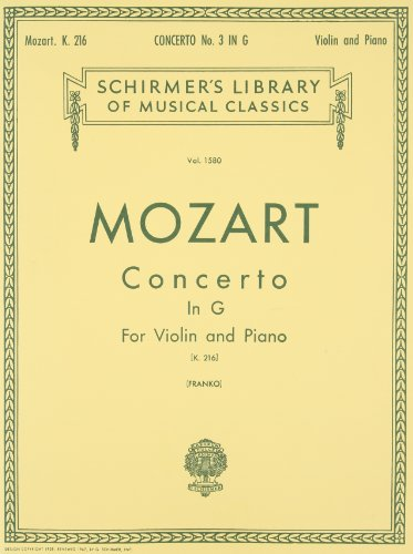 Concerto No. 3 in G, K.216: Score and Parts (Schirmer's Library of Musical Classics; Vol. 1580)