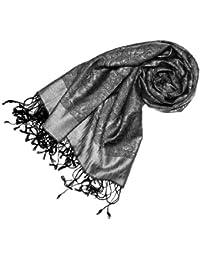 LORENZO CANA Pashmina Seide Paisley 75 x 190 Silber Grau Anthrazit Schwarz Damenschal Tuch Damentuch Schaltuch 78058