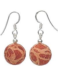 Ohrringe Ohrhänger aus Koralle mit Poren & 925 Silber sehr leicht orange