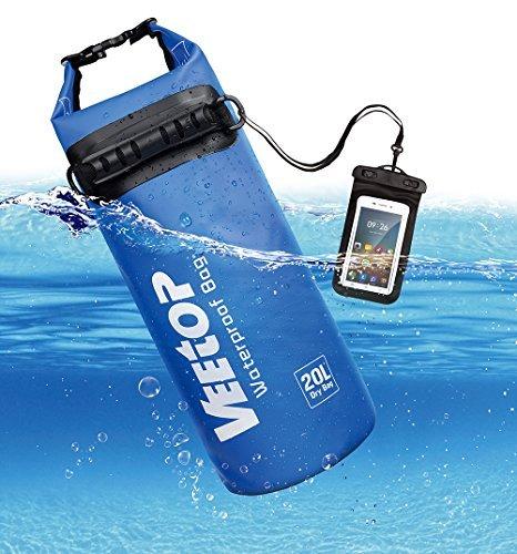 Veetop borsa impermeabile zaino portatile leggero e resistente borsa a tracolla galleggiante regolabile, per sport acquatici canottaggio nuoto campeggio/ custodia impermeabile per telefono (blu) 20l