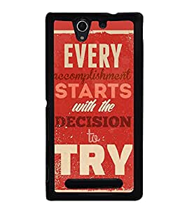 Fuson Designer Back Case Cover for Sony Xperia C3 Dual :: Sony Xperia C3 Dual D2502 (Accomplishment Decide Try Keep trying Fulfil)