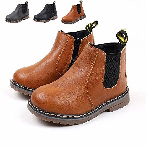 Baby Schuhe, Chickwin Baby Stiefe Kinderschuhe Unisex Weich Und Bequem Rutschfest Warme weiche Winterschuhe Leder Schneestiefel (30 / Maß Innen (cm) 18.5, Gelb)