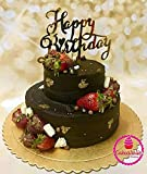 #3: JoyGlobal Happy Birthday Letter Acrylic Cake Topper Decoration for Special Golden Color (Set of 2 pcs)