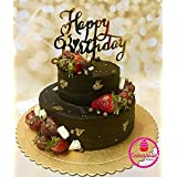 JoyGlobal Happy Birthday Letter Acrylic Cake Topper Decoration for Special Golden Color (Set of 2 pcs)