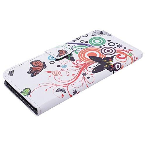 HB-Int 3 en 1 PU Cuir Housse Etui pour Apple iPhone 7 Plus (5.5 pouces) Originale Motif Coque Protecteur Stand Fonction Couverture Flip Wallet Cover Case Card Slots Book Style Coque Magnétique Anti Ch Papillon Blanc
