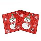 Westeng Serviette de papier d'impression en couleurs de carré Thème de Noël de serviettes en papier Party d'hiver flocon de neige de Noël serviettes en papier 33*33cm...