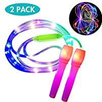ANBET 2 Pack LED Light Up Jump Rope Adjustable Length and Three Light Modes Speed Skipping Rope for Kid, Light Show, Fitness