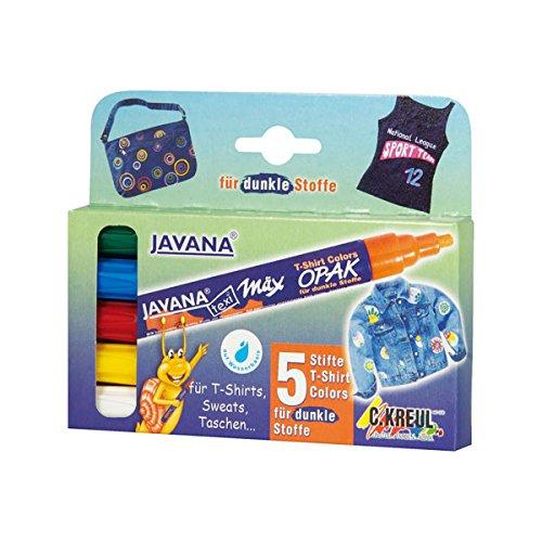Kreul 92750 - Javana Texi Mäx Stoffmalstifte für helle und dunkle Stoffe, mit Rundspitze ca. 2 - 4 mm, 5 Stifte in weiß, rot, gelb, grün und blau