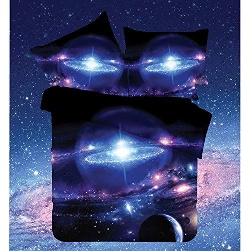 alaxie Universum Planet Einhornbettwäscheset 1 Bettbezug 1 Bettlaken 2 Kissenbezüge Kinder,10,150X210cm ()