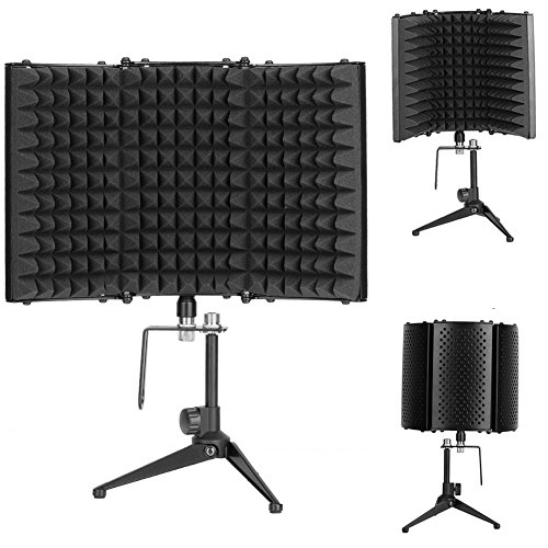 Sound Shield, isolamento acustico regolabile microfono professionale vocal Booth/riflesso filtro Shield con treppiede per studio di registrazione vocale microfono, 32,8 x 20,8 cm