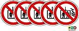 ISO Sicherheitsaufkleber Sign - Internationale Verwenden Sie kein Aufzug im Brandfall Symbol - Selbstklebende Aufkleber mit 50 mm Durchmesser (Packung mit 5 Sticker)