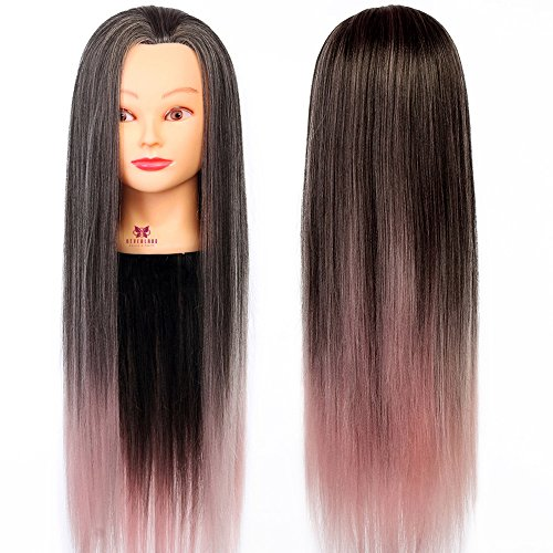 Neverland 26' 100% Synthetisches Haar Trainingsköpfe für Friseure Übungskopf Friseurkopf Friseursalon Puppenkopf Schminkkopf Friseur Mannequin kopf Mit Halter #11