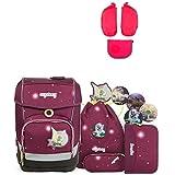 Ergobag Cubo FeenzauBär Special Edition Schulrucksack-Set 5tlg + Seitentaschen ZIP-Set Pink