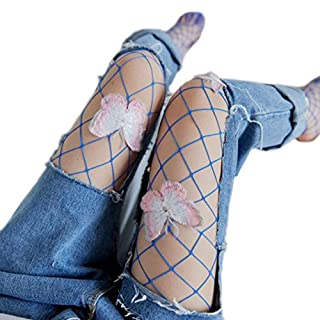 Frauen Hollow Out Fishnet Elastische Hight Strumpfhosen - Bluestercool (Schmetterling-Blau)