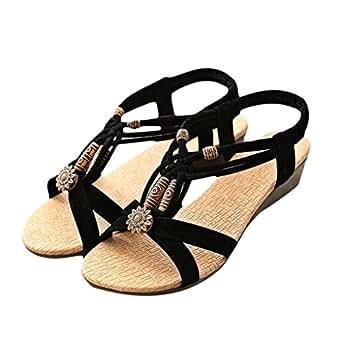 Women Sandals,Women's Casual Peep-toe Flat Buckle Shoes Roman Summer Sandals (36, Black)