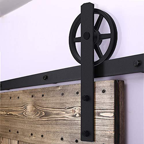 Ccjh 6.6ft-200cm grande ruota armadio scorrevoli in acciaio binario rulli per scorrevole porta singola in legno