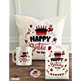 """ALDIVO® Happy Birthday   Gift for Birthday   Birthday Gift   Combo Pack (12"""" x 12"""" Cushion Cover with Filler + Printed Coffee Mug +Greeting Card + Printed Key Ring) (Happy Birthday to You)"""