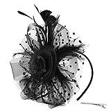 Meilily_Haarband Damen Elegant Fascinator Hut Braut Hair Clip Accessoires Cocktail Royal Ascot Flapper Great Gatsby Stirnband Pearl Charleston Party Cocktail Teeparty Braut Kopfschmuck
