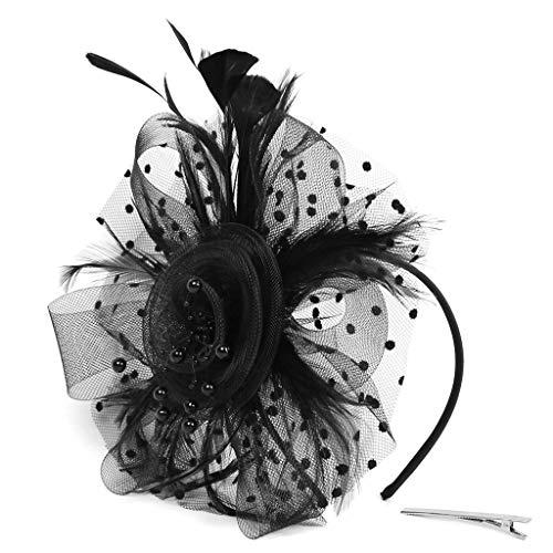 UJUNAOR Frauen 1920s Feder Flapper Haarspange Kopfbedeckung Gatsby Kostüm Accessoires Damen Retro Stirnband(Schwarz,One size)