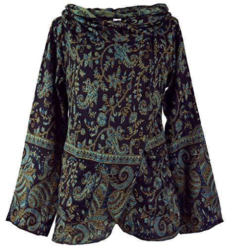 Guru-Shop Cape, Wickeljacke Boho Chic, Damen, Schwarz/blau, Synthetisch, Size:S (36), Boho Jacken, Westen Alternative Bekleidung