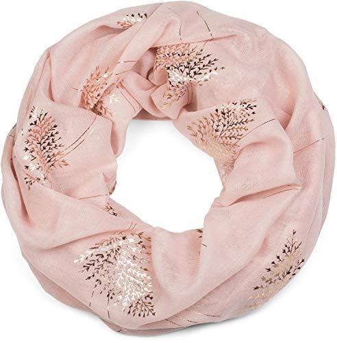 styleBREAKER Damen Loop Schal mit Metallic Farn und Blätter Print, Schlauchschal, Tuch 01017083, Farbe:Rose