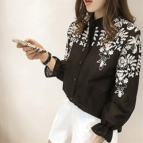CYBERRY.M Blouse T-shirt Été Femme Élégant Manches Longues Fleur Imprimé Top Chemise Noir