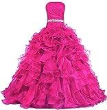 Zorayi Damen Lange Trägerlos Falten Organza Abendkleid Partykleid Besondere Anlässe Kleider Rose Größe 44