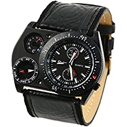 Wrist Watch - OULM Men Army Military big Dial Round Analog Quartz Wrist Watch (Black Face)
