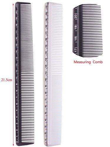 2pcs Hair Cutting Comb, Styling Measure Combs-black & White by Hair Cutting Comb Set