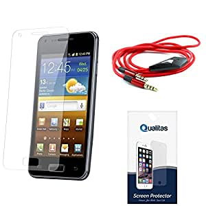 Qualitas Ultra Clear Pack of 7 Anti-Glare Anti-Scratch Anti-Fingerprint Screen Protector for HTC One M9 + 3.5mm Flat AUX Cable with Mic