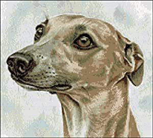 Whippet dog cross stitch kit by Yiotas XStitch