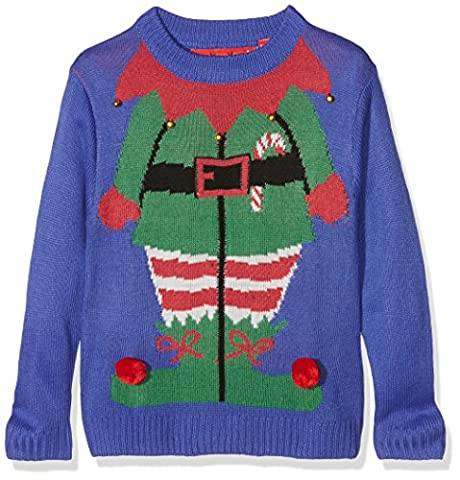 The Christmas Workshop Jungen Pullover Christmas Jumper - Kids Elf, Gr. (Herstellergröße: 3-4 Yrs), Blau (Blue) - Inverno Elf