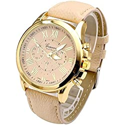 PSFY 2016 new styles Geneva cream leather watches with Gold surface watch Unisex watches wristwatch