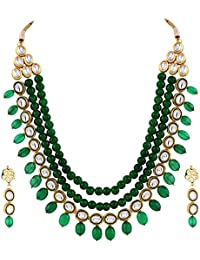 Aradhya Stylish High Quality Onyx Stone Green Kundan Necklace Set With Earrings For Women And Girls