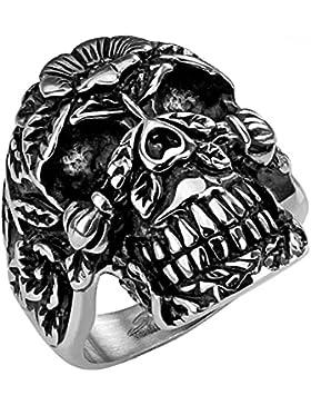 Mianova Herren Männer Biker Rocker Ring Schmuck Zuckerschädel Totenkopf Día de Muertos Edelstahl