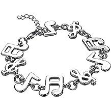 b7375eb0a2d5 Onefeart 925 Plata Esterlina Pulsera para Mujeres Chicas Nota Musical  Longitud de la Cadena 20CM Prevenir