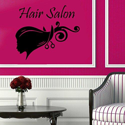 jiuyaomai Friseursalon Wandtattoo Vinyl Friseur Frau Haarschnitt Schere Mädchen Schönheitssalon Wandaufkleber Abnehmbare Friseursalon 42x49 cm