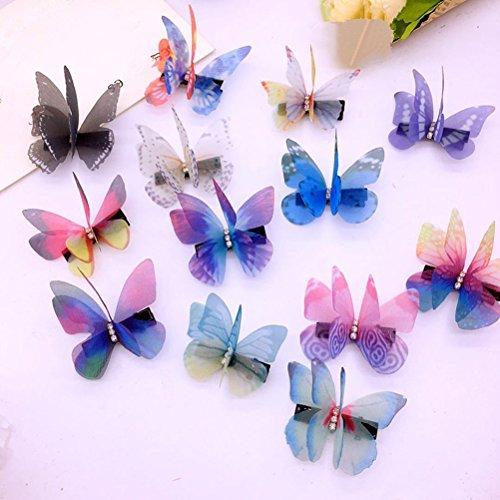 cuhair 100Hochzeit Dinner Party Farbe zufällige Doppelter Schmetterling Frauen Girl Haar-Clip Pin Claw Haarspangen Zubehör Sommer Beach Flower