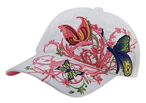 Petite Fortune Neuheit Baseball Cap Kinder Mädchen Hut Sonnenbrille mit Blume Stickerei Visier Lange UV-Sonnenschutz Cap Hip-Hop Größe verstellbar Cap Sport-/Golf/Radsport, Blanc(Enfant)