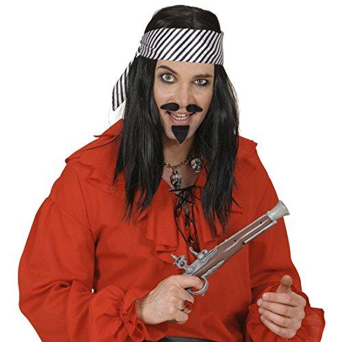 Amakando Satin Haartuch Streifen Piratentuch schwarz-weiß gestreift Pirat Satintuch Piraten Halstuch Karneval Kostüm Zubehör Haar Accessoire Seeräuber Hals Tuch