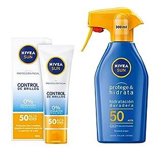 NIVEA SUN Protección Facial UV Control de Brillos FP50 + Protege & Hidrata Spray Solar FP50