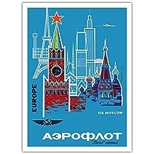 Europa über Moskau - Aeroflot (Russische Fluggesellschaft) - Russlands National-Fluglinie - Vintage Retro Fluggesellschaft Reise Plakat Poster c.1968 - Premium 290gsm Giclée Kunstdruck - 30.5cm x 41cm