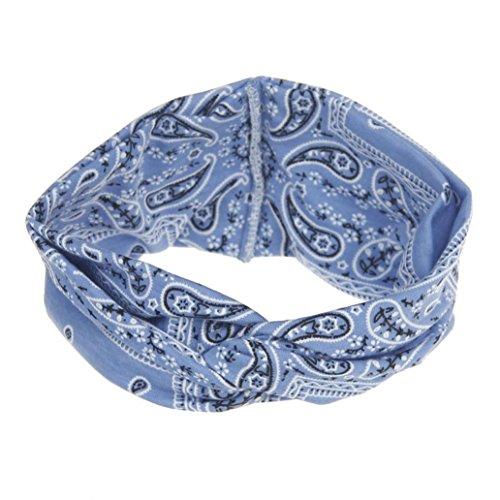 VENMO Frauen Yoga Sport Elastic Floral Haarband Stirnband Turban verdreht verknotet Elastische Blume Gedruckt Stirnbänder Baumwolle Gestrickte Verdrehte Weiche Turban-Kopf-Verpackungs (Blue) (Kostüm Halo Blue)
