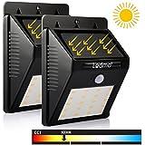 LEDMO Luces Solares LED, 20 LED Luz de Solar de pared, blanco cálido 3000K PIR Sensor de movimiento y sensor ligero Super brillante Energía solar impermeable Luz de solar LED con modos inteligentes para la pared al aire libre, jardín, cerca, patio, camino, cubierta, yarda, calzada, escaleras, 2 paquete.