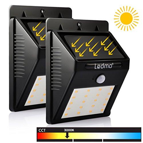 LEDMO 2-Pack 20 LED Lumière Solaire Jardin etanche sans fil, Extérieur Détecteur de Mouvement, pour Mur, Clôture, Patio, Cour, Allée, Escalier. (Blanc Chaud, 3000K)