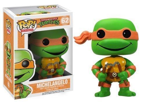 Teenage Mutant Ninja Turtles Michelangelo Mini Figur 10cm von Funko aus POP Sammel Reihe Nr. 62 mit Leonardo Donatello Raphael Vinyl in Fensterbox (Mini-ninja Turtles)