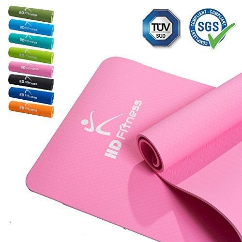 HD Fitness Tappetino da ginnastica / EXTRA spesso e morbido, ideale per yoga pilates, Allenamento di ginnastica / dimensioni: 180 x 61 spessore 0,8mm / rosa