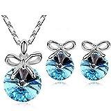 Parure Bijoux 4 pièces Nœud Cristal Turquoise Swarovski Éléments